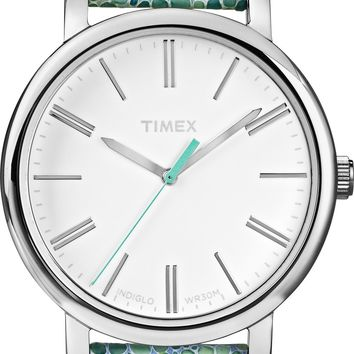 Timex Womens Teal Pattern Strap Easy Read Watch