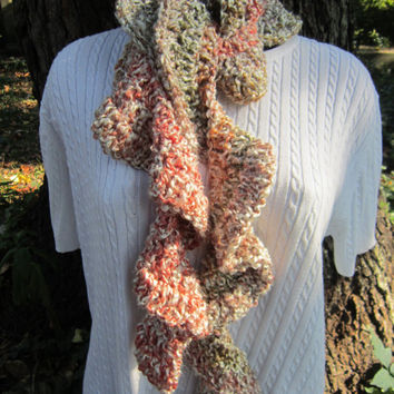 Crocheted Ruffle Scarf Multicolor Rust, Olive Green and Brown