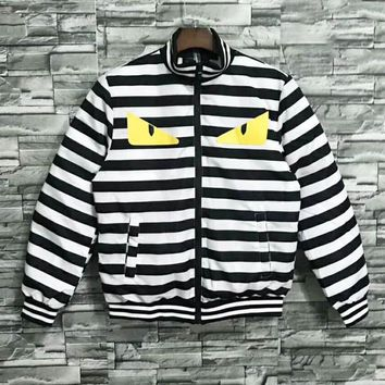 Fendi Autumn And Winter Fashion New Eye Print Stripe Keep Warm Women Men Long Sleeve Top Coat
