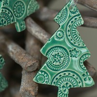 Christmas Tree Ornaments Lace Ceramic Mint Winter Home Decoration Gift Set of 3
