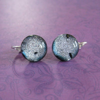 Dichroic Silver Clip Earrings, Post Clip Ons, Non Pierced Earrings, Handmade Jewelry  - Devine - 2160 -1