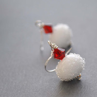 White Sugared Earrings, Red Swarovski Crystal, Frosted Snowball Earrings, Festive Holiday Jewelry, Stocking Stuffer