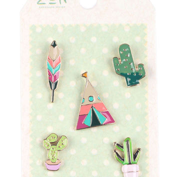 Southwest Cactus and Feather Pin Brooch Set