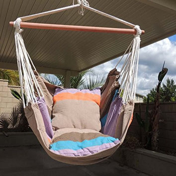 Hanging Rope Hammock Chair with Stand & Cushioned Seat