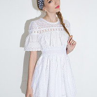 White Lace Ruffled Short-Sleeve Dress