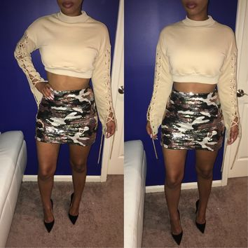 Camo Sequin Skirt