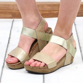 Chantal Metallic Low Wedge Sandal {Gold}