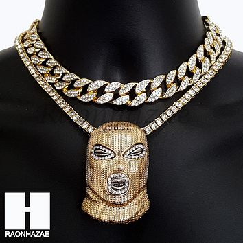 Hip Hop Premium Goon Mask Miami Cuban Choker Tennis Chain Necklace H