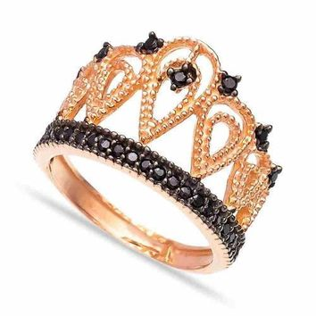 Gold Crown Ring Over 925 Sterling Silver