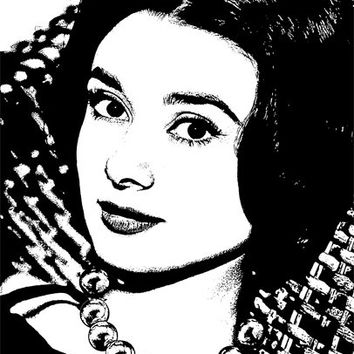 Glamorous woman wearing pearls PNG clip art Digital Image Download beauty graphics printables for cards t shirts pins buttons etc