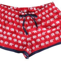 Elephant Women's Boxer, Red, Pajamas