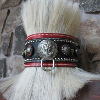 Battle Collar 4 inch 3 layer leather dog collar with by OLICOLLARS