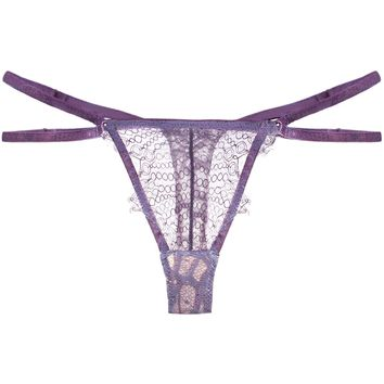 Lila Lavish Lace Strappy Thong in Lavender – Preorder