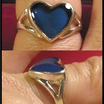 Mood Ring Sterling Silver 10MM Heart Splitband