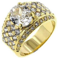 Gold Oval Cubic Zirconia Ring, size : 10