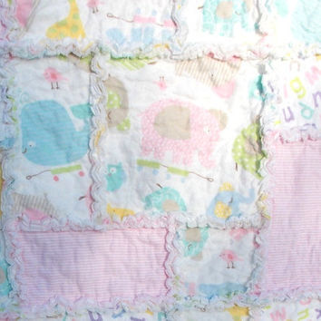 Baby Girl Rag Quilt Blanket - Pink, Blue, Yellow, White, Pastel Colors - Baby Animals - Flannel