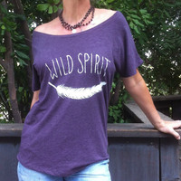 Wild Spirit with Feather - Amethyst Heathered  Wide  Neck Tee (wear of the shoulder, but one size up)