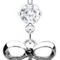 "14g Dangling Surgical Steel Bow Sexy Belly Button Navel Ring Dangle Body Jewelry Piercing with Clear Gem 14 Gauge 3/8"" Nemesis Body JewelryTM"