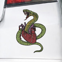 King Cobra Snake Ripping Heart Bumper Sticker Vinyl Decal India Honda Acura Dope Turbo Jeep BMW