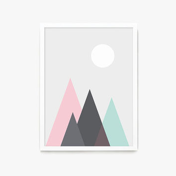 Mountain , Nursery Print, Modern Nursery Decor, Minimalist, Wall Art, Nursery Wall Art, Nature Wall Art, Girl Nursery Prints, Coral and Mint