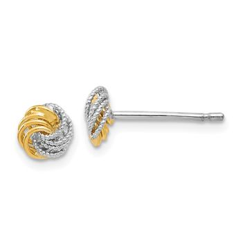 7mm (1/4 in.) 14k Two-Tone Gold Polished & Textured Love Knot Earrings