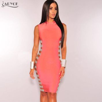 Hollow Out Side Striped Beads Embellished Mini Bandage Dress Evening Party Dress