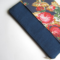 Denim roses MacBook 13 sleeve with zipper and pockets, MacBook Pro 13 sleeve, MacBook Air 13 Case, MacBook Pro 13 case