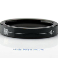 Hunger Games Inspired Arrow Brushed Black Pipe Cut Ring