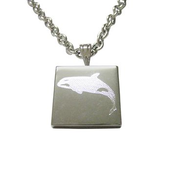 Silver Toned Etched Jumping Killer Whale Orca Necklace