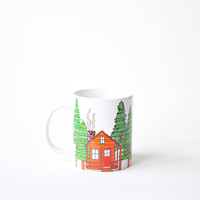 Cabin mug - white 11oz coffee mug mothers day gift forest cabin scene green cabin in the woods