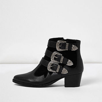 Black leather western buckle strappy boots - Boots - Shoes & Boots - women