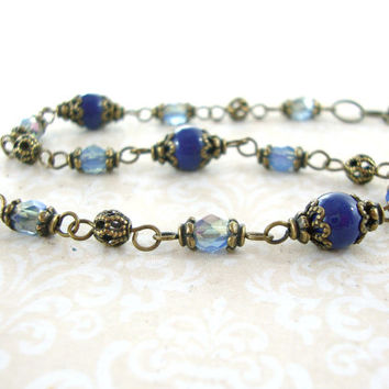 Blue Swarovski Pearl and Czech Bead Bracelet - Vintage Style Brass Jewelry - Blue Bronze Bracelet - Antique Brass Blue Boho Beaded Bracelet
