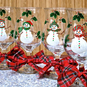 Hand Painted Christmas Glasses With Snowmen