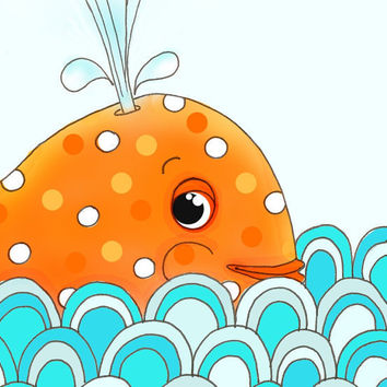 Orange Whale Aqua Ocean Kids Wall Art Childrens by wonderlaneart