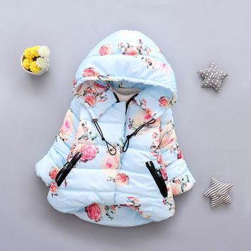 MUQGEW Toddler Baby Coat Girl Boy Clothes Floral Print Winter Warm Jacket Hooded Windproof Coat girls coats and jackets