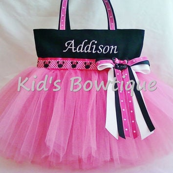 Hot Pink Minnie Themed Tutu Tote Bag - Monogrammed Minnie Mouse Inspired Diaper Bag