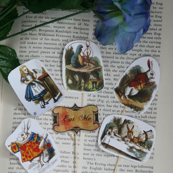 24 Pieces Alice in Wonderland Cupcake Toppers Picks for Birthday Decorations DIY Party Supplies