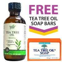 Perfectly Pure 100% Australian Tea Tree Oil + FREE Tea Tree Oil Soap Bars by Herbal Authority | AihaZone Store