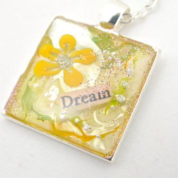 Dream Necklace, Yellow Flower Necklace, Spring Jewelry, Dream Jewellery, Inspirational Gifts, Birthday Present