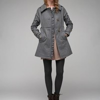 Asymmetrical Ruffle Coat / Womens