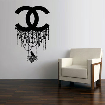 Wall Decal Vinyl Sticker Decals Art Decor Design Chandelier Luster Chanel Bird Logo Light Living room Bedroom Modern Mural Fashion (z3136)