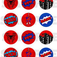 Spiderman inspired Stickers, Cupcake Topper, Tags. Birthday Partys. Digital file