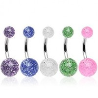316L Surgical Steel Navel Belly Ring in 5 UV Color Ultra Glitter Ball
