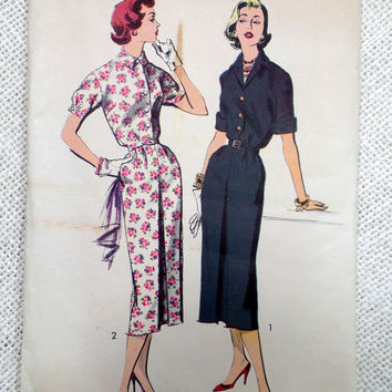 Vintage Pattern Advance 8395 Shirtwaist dress sewing slim Skirt Blouson Bodice Wiggle 1950s Rockabilly Bust 36
