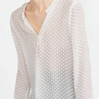 White Polka Dot Chiffon Blouse