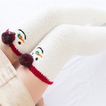 Fashion Women's Stockings cute Warm winter Cotton Stockings For Girls Ladies Women Cartoon Christmas Stockings 2 style