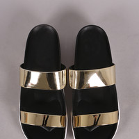 Double Metallic Band Slip On Flat Sandal