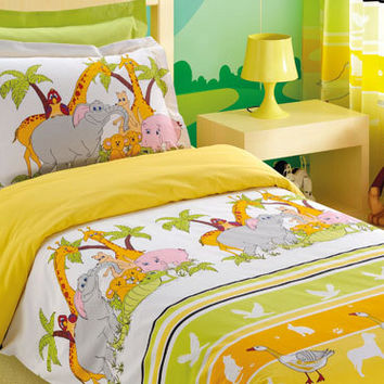 Jungle Bedding in Full or Queen Size - Green, Yellow, Orange Animal Print Kids Duvet Cover Set - 3 Pieces - Custom Size