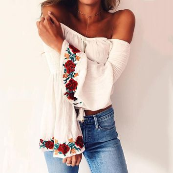 Boho Lace Off Shoulder Shirt Embroidery Rose Floral Blouse Top