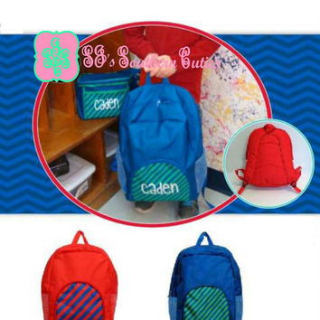 NEW Monogrammed Boy Backpack with Lunchbox , Monogram Bookbag with Lunchbox